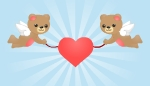 Two Flying Bears Holding Heart